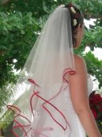 Two Tier Veil with Red Satin Bound Edge