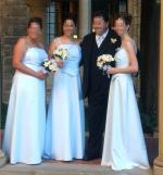 Bridesmaids Dresses (3) sizes 8, 12-14, 16-18 Ice Blue Satin