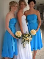Two Beautiful Turquoise Bridesmaid Dresses by Barijay