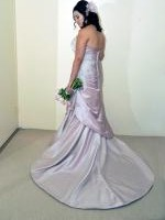 French Pink Strapless Trumpet skirt wedding dress by Alfred Angelo