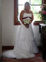 Beautiful Strapless White Wedding Dress by Alfred Angelo & Veil