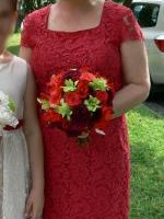 Two Perri Cutten Red French Lace Bridesmaids Dresses