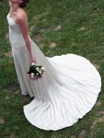 Classic and Elegant Wedding Dress with Pearl Beaded Lace Bodice by Wendy Makin