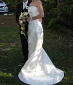 Beautiful Ivory Silk Strapless Wedding Dress by Peter Trends
