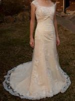 Stunning Champagne Lace Detailed Wedding Gown