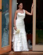 Beautiful Ivory Essense (D1101) Satin Gown With Veil