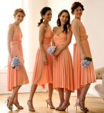 Four Two Birds - Peach Maxi Bridesmaid Gowns