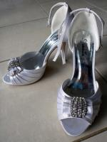 Size 7 White Satin Peep Toe Wedding Shoes