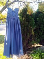 FOUR BRAND NEW NEVER WORN CLASSIC, FLOOR-LENGTH, STRAPLESS, BLUE-GREY BRIDESMAID DRESSES