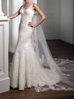 Beautiful Lace Fitted Wedding Gown by Pronovias, Includes Veil