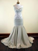 Stunning preloved EVERMORE BRIDAL Couture latte mermaid lace and chiffon gown. Size 6-8.