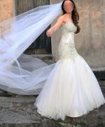Spectacular PERSONALISED WEDDING COUTURE blush trumpet gown. Size 6-8