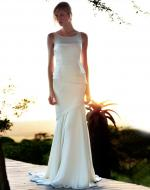 Stunning AMANDA WAKELEY Style AW186 ivory satin and silk georgette gown. Worn once. Size 10.