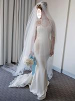 Exquisite STEVEN KHALIL ivory silk and chantilly lace custom gown with lace sleeves and dramatic keyhole back. Size 8.