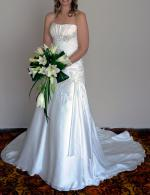 Strapless Off-White/Silver Beaded Essence Wedding Dress