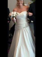 Asymetric strapless white wedding dress with gorgeous embellishments Size 14-16