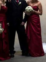 Alfred Angelo Classic Red Strapless Satin Bridesmaid Dress