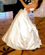 White Strapless Satin Alfred Angelo Wedding Gown Size 12-14