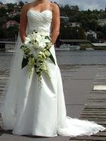 Beaded Sweetheart Neckline Wedding Gown with train