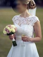 Beautiful, classic, custom-made French Lace and Organza Wedding Dress