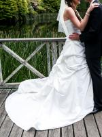 Suit Tall Bride - Stunning Strapless Ivory Tie Up Wedding Dress with Built in Train