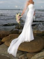 Beautifully flattering Essense of Australia, Wedding Dress, Veil & Shoes