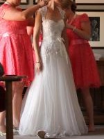 Custom made Lace Keyhole Wedding dress by Caliche