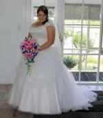 Beautiful Strapless Wedding Gown and Veil by Alfred Angelo