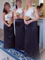 Three Full Length One Shoulder Two Tone Bridesmaid Dresses