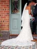 Elegant Strapless French Lace Mermaid Wedding Gown Custom Made