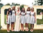 Four Alannah Hill elegant, knee length bridesmaid dresses/formal dresses in silver