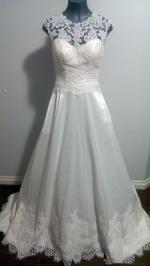 Size 12 Satin and Lace Wedding Gown