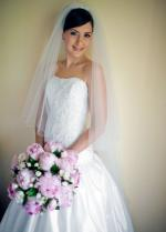 Beautiful strapless lace and silk wedding dress by Wendy Makin