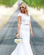 Elegant off the shoulder lace wedding gown by Allure Bridal