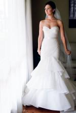Custom-made Steven Khalil ivory strapless mermaid wedding gown � Size 6-8