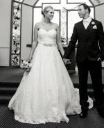 Beautiful strapless wedding gown by Henry Roth