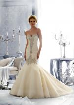 Mori Lee by Madeline Gardner Micro Tulle Swarovski Beaded Gown
