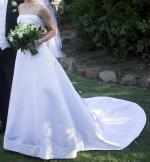 Beautiful white wedding dress with veil