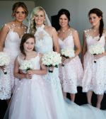 3x custom made pale pink lace bridesmaid dresses by Nikki Velani