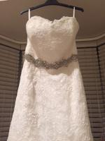 Custom made brand new ivory lace strapless gown with Swarovski crystal belt RRP $3500