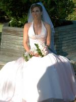 Stunning Rose Pink Halter Wedding Dress by Maggie Sottero Couture