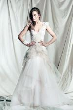 Beaded Silk Tulle & Lace A-Line Cap Sleeve Wedding Gown by Pallas Couture