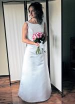 Elegant A-line wedding dress with Swarovski crystal beading & delicate mid length veil