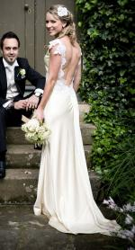 Stunning low backed silk satin with french beaded lace