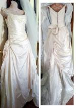 Suzanne Harward NEW wedding gown. French silk & lace inc veil