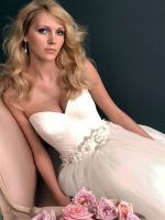 Champagne Allure Gown (2607) with beatiful straps and jeweled buttons