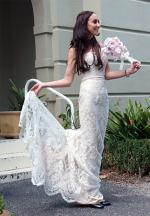 Peter Trends Ivory french lace strapless sweetheart wedding dress