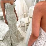 Mermaid Wedding dress with lace pearls/ Suzanne Blazavic design/ customs Made
