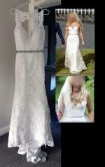 Beautiful French Ivory Lace Wedding Gown by Julie Simonelli