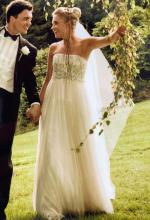 Luci Di Bella Wedding dress hand beaded/ Champagne Size 10